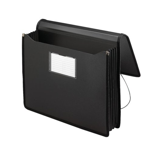 Wholesale CASE of 15 - Smead Expansion Poly Wallets w/ Sewn Edges-Wallet With Sewn Edges, Expands 5-1/4'', Letter, Black