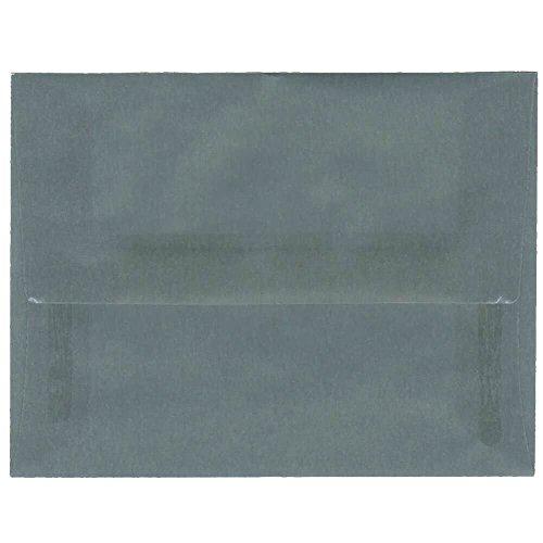JAM PAPER A2 Translucent Vellum Invitation Envelopes - 4 3/8 x 5 3/4 - Steel Blue - 25/Pack Blue Translucent Vellum Envelope