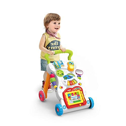 JINYJIA Primeros Pasos Bebé Actividad Andadores, Patrón Múltiple, Sentar & Jugar, Música Piano, Estar & Caminar, Juguete de aprendizaje, Desarrollo de ...