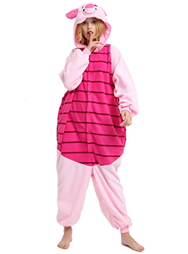 Piglet Onesie Adult. Pig Costume Kigurumi Pajama for Women and Teens.XL Pink