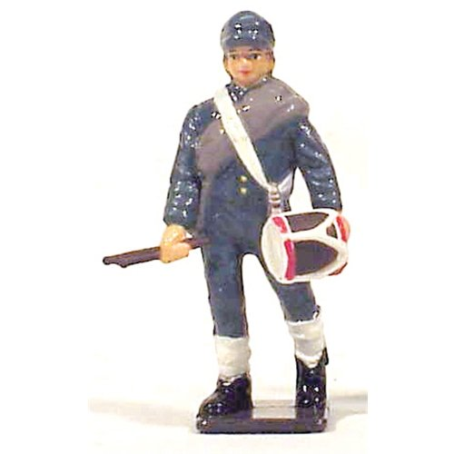 American Civil War CSA Infantry Drummer Gettysburg Collectible Figure 1/32 Painted Metal Toy Soldier by Americana - Fits with W Britain Collectors Showcase ()
