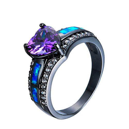 (JBL Women Charm Blue Fire Opal Heart Elegant Purple Black Gold Filled Vintage Wedding Ring)