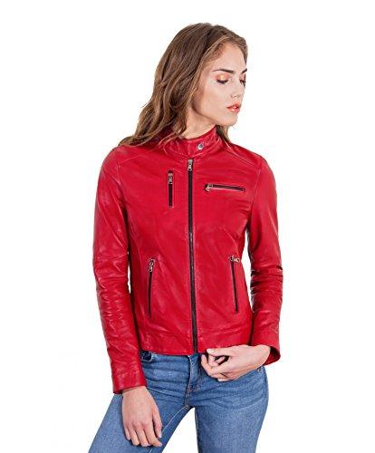 morad Couleur Style Rouge plong en Veste Giulia Rouge Cuir D'Arienzo ZxWvwv