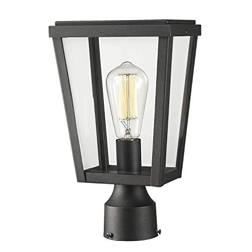 Emliviar Modern Outdoor Post Lamp, 1-Light Exterior Post Lighting in Black Finish with Clear Glass, - Outdoor Column Light