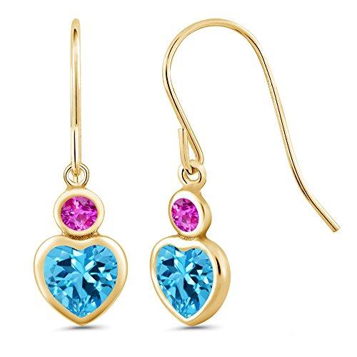 1.38 Ct Heart Shape Swiss Blue Topaz Pink Sapphire 14K Yellow Gold Earrings