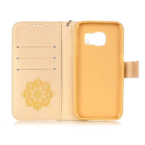 Uming® Gofrado Dreamcatcher Flor Campanula Patrón Especial de la serie de impresión colorida caja de la PU de la pistolera Caso Holster case ( Gold - para Samsung Galaxy S5 I9600 S5Neo ) de cuero arti Gold