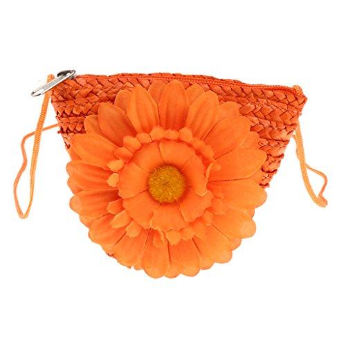 Body Mini as Girl Change Cross Casual Homyl described Handbags Sunflower Straw White Bag Orange Women ARwXqqax