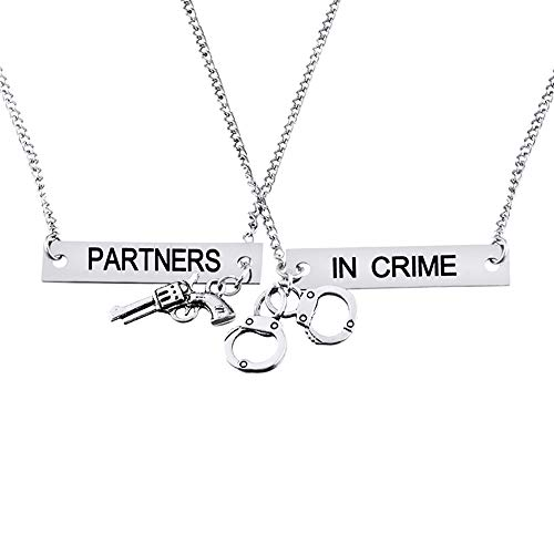 Loozykit Split Valentine Heart Partners in Crime Engraved Best Friends Pendant Friendship Necklace Set of 2(Free Box)