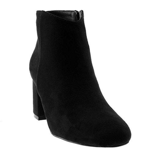 6 Foderato Stivaletti Boots Low Alto 5 Donna Tacco Elegante Scarpe Moda Pelliccia CM Nero di Moderno Angkorly a Blocco Scarponcini qYwEOax1