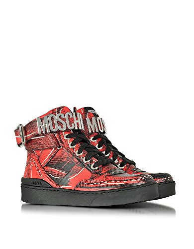 MOSCHINO FEMME MA15033G12MGN500 ROUGE CUIR BASKETS MONTANTES