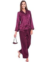 Del Rossa Women's Satin Pajamas, Long Button-Down Pj Set...