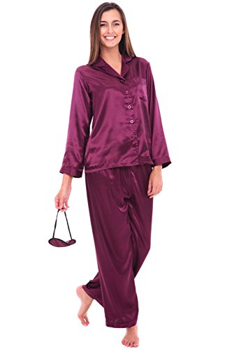 Del-Rossa-Womens-Satin-Pajamas-Long-Button-Down-Pj-Set-and-Mask