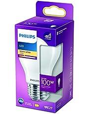 Philips ampoule LED Equivalent 100W E27 Blanc chaud Non dimmable, Plastique