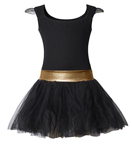 DANSHOW Girls' Tank Skirt Leotards for Ballet Dance with Tutu, Gold Waist and Flying Sleeves(4-6,black)