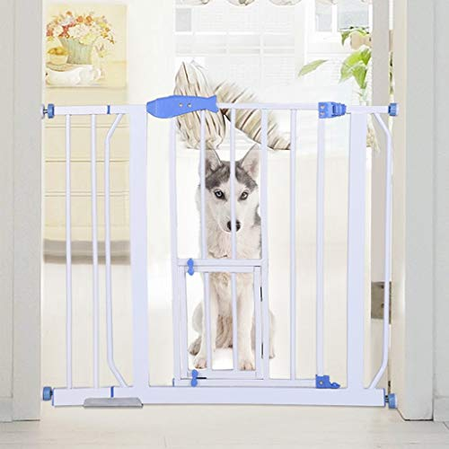 Pet Safety Gate Extension, Metal Expandable Dog Gate | Baby Stair Fence Barrier Pet Dog Gate Door Ramp Guardrail Isolation Mount for Stairs,Doorways and Banister (White)