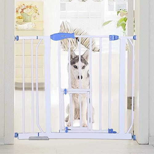 Dog Steel Pet Gate, Safety Gates Baby Stair Fence Barrier Pet Dog Gate Door Ramp Guardrail Isolation (76CM(L) X 70-99(W), White)