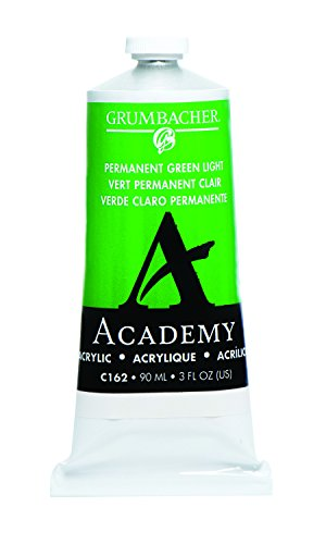 Grumbacher Academy Acrylic Paint, 90ml/3 oz Metal Tube, Permanent Green Light