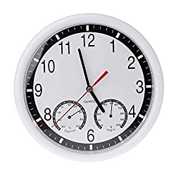 Susie-Smile - 10 Silent Wall Clock Decorative Thermometer & Humidity Meter Non-ticking