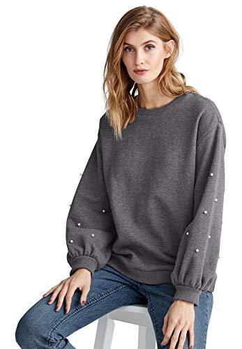- Ellos Women's Plus Size Pearl Trim Sweatshirt - Heather Slate, 14/16