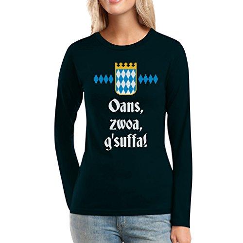 Coole Oktoberfest Kleidung - Oans, zwoa, g'suffa! Frauen Langarm-T-Shirt XX-Large Schwarz