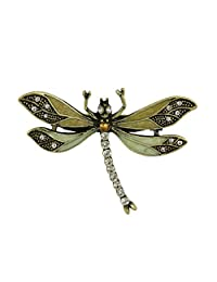 Lovett & Co...1920's Vintage Clear Crystal & Enamel DragonFly Brooch...Pin Fastening