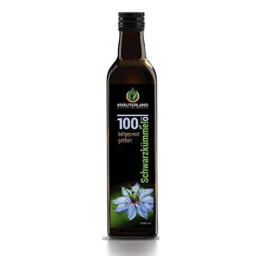 Kräuterland Natur-Ölmühle ägyptisches Schwarzkümmelöl, gefiltert, milder Geschmack, 1000 ml