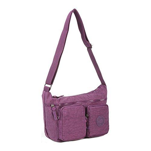 Foino Schultertasche Leicht Umhängetasche Damen Seitentasche Mode Reisetasche Lässige Sporttasche Design Kuriertasche Messenger Bag Taschen für Mädchen Büchertasche Lila