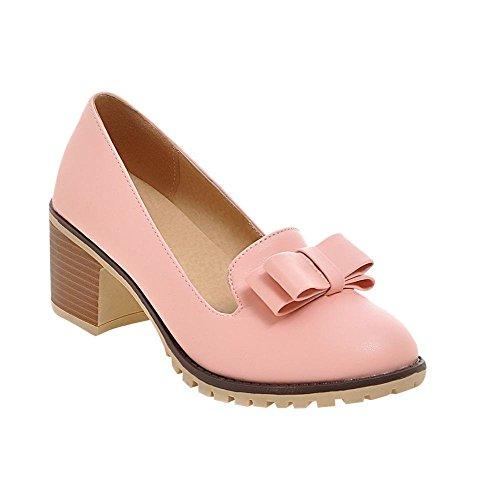 MissSaSa Damen Chunky heel Schleife Low-cut Pumps simpel und bequem Blockabsatz runde Spitze Kleidschuhe Pink