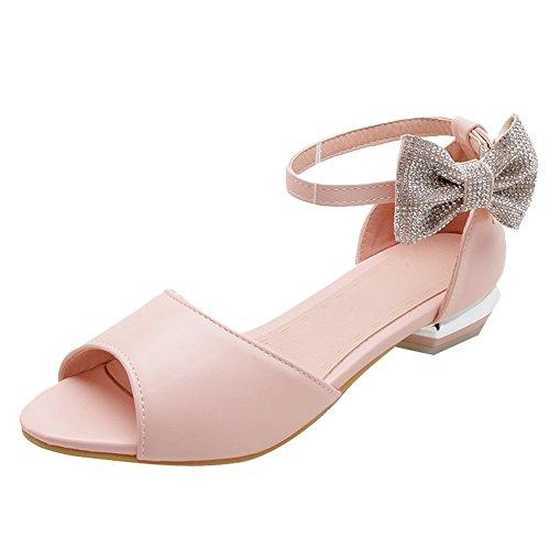 Charm Foot Womens Sweet Paillettes Archi Con Tacco Basso Sandali Con Tacco Rosa
