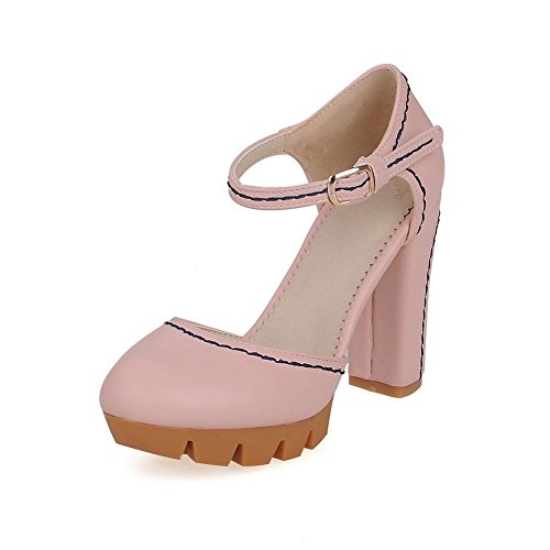 AgooLar Women's Soft Material Buckle Round Closed Toe High-Heels Solid Sandals Pink VXJPWpwc