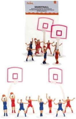 Party Store web by casa dolce casa Kit de baloncesto de 10 piezas, 8 jugadores, 2 canastas para decorar la tarta