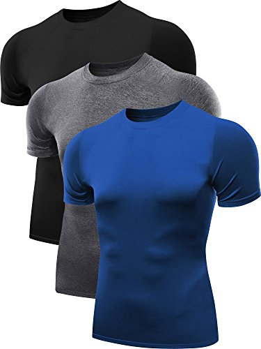 Neleus Men's 3 Pack Athletic Baselayer Compression Short Sleeve Shirts,5011,Black,Blue,Grey,XL,EUR 2XL (Mens Eastbay Top Tank)