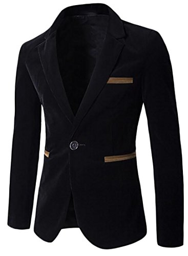 Suit Block Lapel Color Black Long Blazer Sleeve UK today Corduroy Mens qE40zWxa