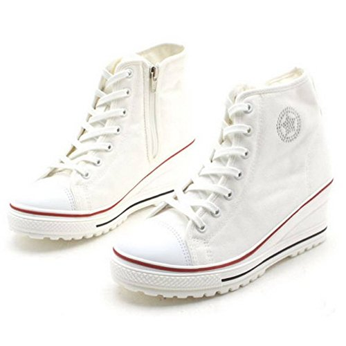 Epicstep Womens Casual Canvas Wiggen Schoenen Mid Hakken Lace Up Fashion Sneakers Witte Hightop