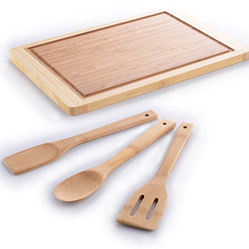 """Comllen Organic Bamboo Gift Set With 3-Piece Wooden Utensils and a 18"""" x 13"""" Bamboo Cutting Board"""