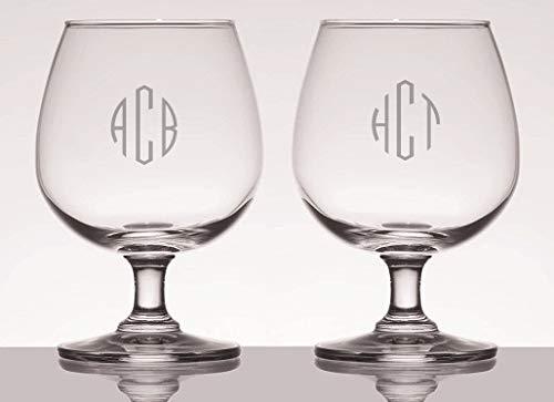 Personalized 12oz Brandy Beer Snifter Glasses Set of 2, Custom Glasses, Engraved Glass Set, Personalized Glassware by Ravanox