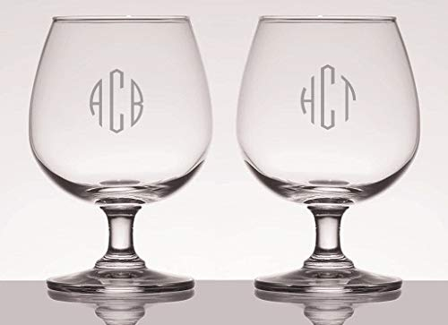 Personalized 12oz Brandy Beer Snifter Glasses Set of 2, Custom Glasses, Engraved Glass Set, Personalized Glassware