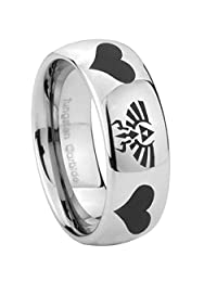 Tungsten with Dome Edge Legend of Zelda and Heart PolishedTwo Tone Laser Engraved Ring