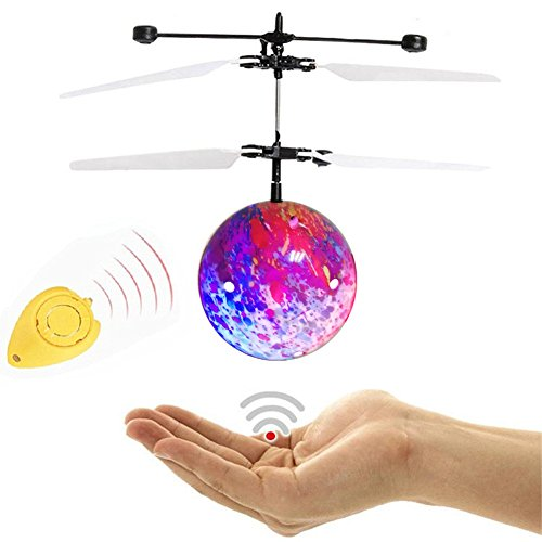 WINONE RC Flying Ball, RC Flying Toy, Infrared Induction Drone Remote Control Helicopter Ball with Rainbow Shining LED Lights and Remote Control for Kids Cool Outdoor Toys (Rainbow) - Kid Gadgets