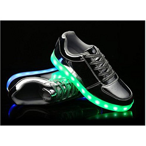 [Present:kleines Handtuch]Gold EU 37, Glow USB-Lade Lovers (Größe LED Schuhe Unisex Damen Silber) Luminous Flashing JUNGLEST® Turnschuhe weise