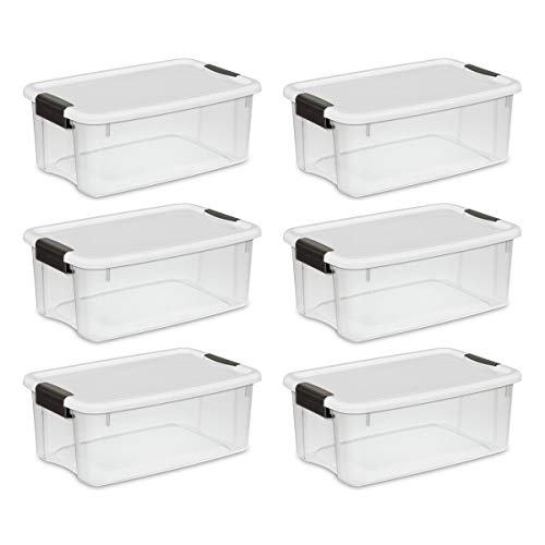 (Sterilite 19849806 18 Quart/17 Liter Ultra Latch Box, Clear with a White Lid and Black Latches, 6-Pack (Renewed))