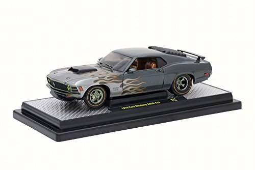 1970 Ford Mustang Boss 429 Charcoal Metallic with Flames 1/24 Diecast Model Car M2 Machines 40300-57 A