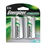Energizer NH50BP2 NiMH Rechargeable Batteries, D, 2 Batteries/Pack
