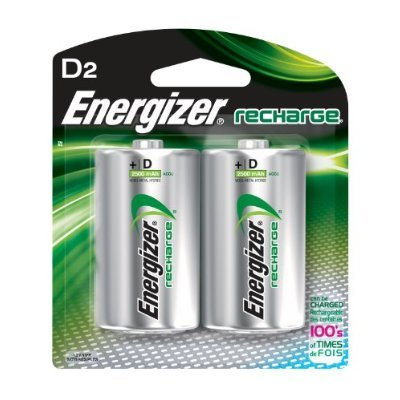 2 Pack Energizer Rechargeable NiMH 2500mah D Battery ()