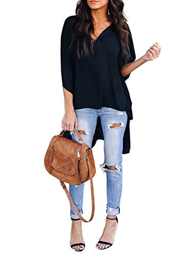Asymmetric Sleeve Top - Asvivid Womens Casual V Neck 1/2 Bell Sleeve Blouses Tunic Top Ladies Work T-Shirt Asymmetric Tops M Black
