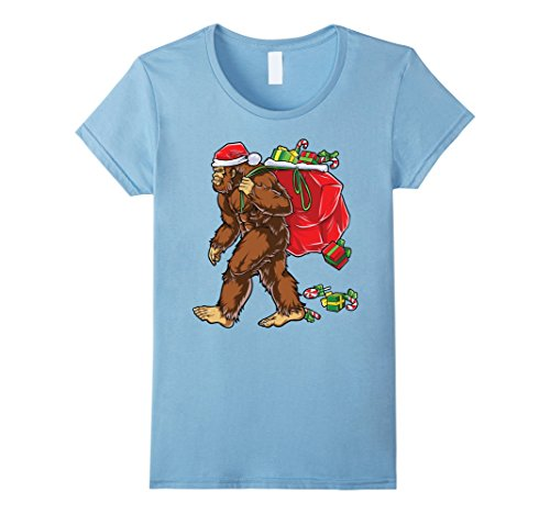 Sasquatch Infant Costume (Womens Bigfoot Santa T Shirt Hat Carrying Christmas Bag Sasquatch XL Baby)