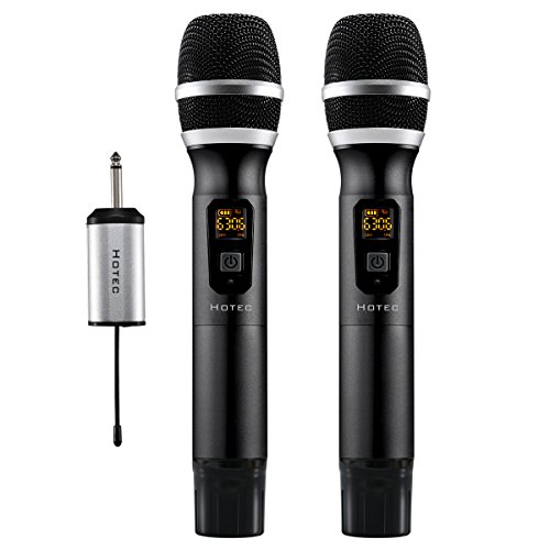 Hotec 25 Channel UHF Wireless Microphone Dual Microphone with Mini Portable Receiver 1/4 Output, For Church/Home / Karaoke/Business Meeting (Dual mic)