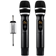 "Hotec 25 Channel UHF Wireless Microphone Dual Microphone with Mini Portable Receiver 1/4"" Output, For Church/Home/Karaoke/Business Meeting (Dual mic)"