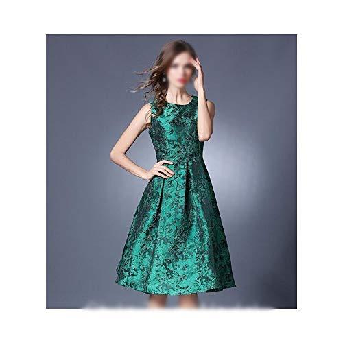 - MATCHANT Temperament Slim Fit Sleeveless Tank Jacquard Dress (Color : Green, Size : XL)