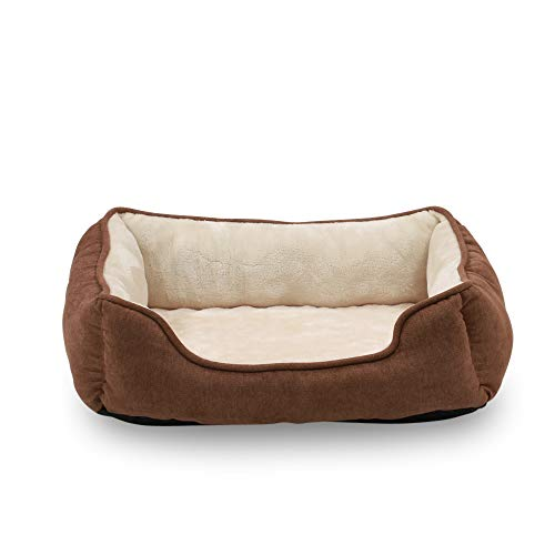 Happycare Textiles Orthopedic rectangle bolster Pet Bed,Dog Bed, Super soft plush, Large 34x24 inches Brown